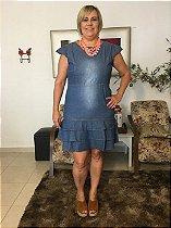 Vestido Jeans com Babado Plus Size