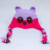 Touca - Ursa - crochê com tranças - Newborn