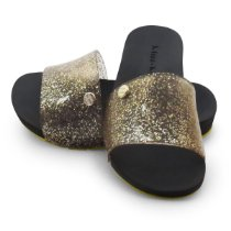 Chinelo Slide Bright Kids Miss-Miss | Ouro Gliter