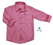 Camisa Felipe - Listrada Vermelha com detalhes em Xadrez