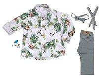 Conjunto Beto - Camisa Dino e Calça Cinza Alfaiataria (quatro peças) | Dino