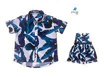 Kit camisa e vestido Nati - Tal pai, tal filha (duas peças) | Folhas