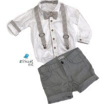 Conjunto Gabriel - Camisa Branca e Bermuda Cinza (quatro peças) | Batizado