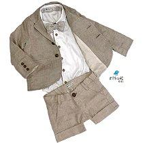 Conjunto Fausto Linho - Bege| Bermuda, camisa, gravata e Blazer (4 peças)