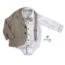 Conjunto Fausto Linho - Bege| Blazer, Camisa e Acessórios   (quatro peças)