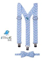 Kit suspensório + gravata borboleta - Chevron Azul  Bebê
