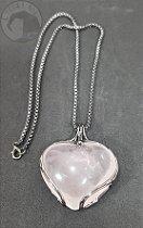 Amuleto Coração de Quartzo Rosa - Grafite