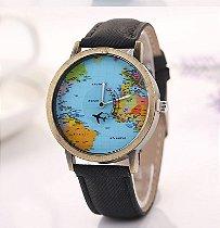 Relógio Mapa Mundi Avião - Preto