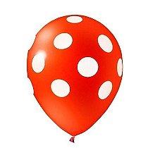 Balão de Látex Poá Vermelho e Branco 25 unidades n10 25cm Pic Pic