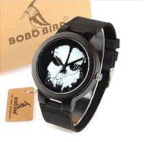 Relógio Bobo Bird - Bambu Madeira analógico Modelo D24 Crânio