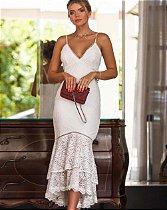 Vestido Midi Branco Doce Maria