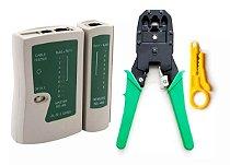 Kit Testador Cabo Rede LAN + Alicate Crimpador RJ11, RJ12 e RJ45
