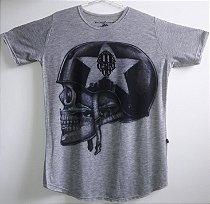 Camisa Long Line Cinza estampa Caveira Perfil