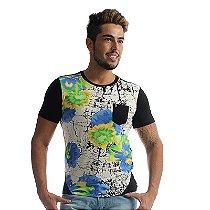 Camiseta Frente Floral Costas Recortes Preto