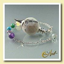Pêndulo Esfera com Chakras pulseira - Pedra da Lua