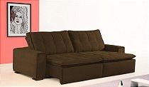 Sofá retrátil e reclinável Lisboa - Tecido animale marrom escuro