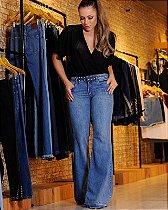 Calça Flare Jeans Cos tachas