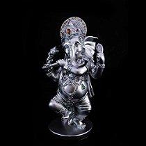 Ganesha Flautista Prateado