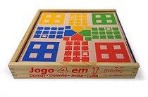 Jogo 4 Em 1 Damas Trilha Ludo Domino