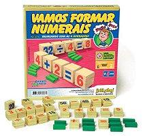 Brinquedo Educativo Vamos Formar Numerais 114 Pedras Madeira - JOTTPLAY
