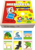 Memória Educativa Animais E Nomes MDF 40 Peças