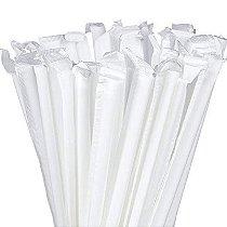 2000 Canudos de Papel Branco Individualmente Embalados BioTube Biodegradável
