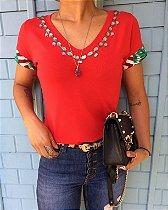 T-shirt Red bordada