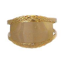 Anel Espelhado, com Dois Aros em Chapa Oval Banhado em Ouro 18k.