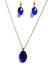 Kit Colar e Brincos Folheados a Ouro Pedras Verde ou Azul