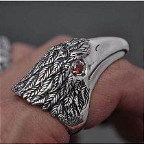 Anel Big Corvo com zircônias nos olhos em prata 950k