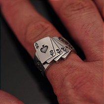 Anel Cassino em prata 950k
