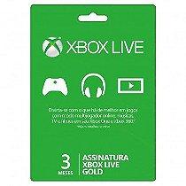 Cartão Microsoft Xbox Live Gold 3 Meses