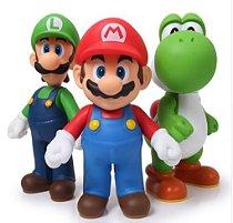 Super Mario, Luigi e Youshi - Kit Com 3 Bonecos - 11 - 12 Cm