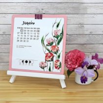 Calendário de Cavalete Watercolor Floral
