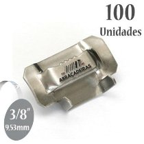 Fecho dentado de Aço Inox 316, 3/8'' (9,53mm) sem revestimento, pacote com 100