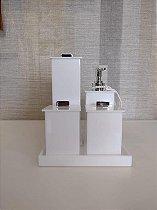 Conjunto de Potes para Banheiro 05 peças em Acrílico branco Elegancy - Decor Acrílicos