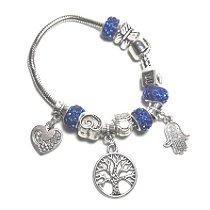 Pulseira Amuleto com Pingentes Hamsa e Árvore da Vida