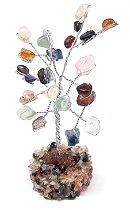 Árvore Mix de Cristais com Galhos em Metal (13cm)