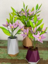 Vaso geométrico e flores de papel - 3un.