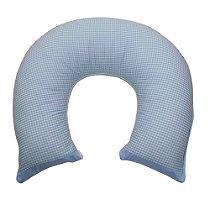 Almofada de Amamentação Xadrez Detalhe Azul