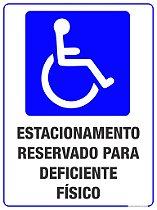 Placas Vaga Exclusiva para Cadeirantes 30x40 cm