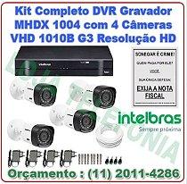 Kit Câmeras de Segurança Intelbras + Dvr Mhdx 1004 Com 4 Câmeras Vhd 1010b