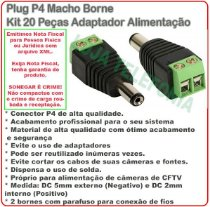 Plug P4 Macho Borne Kit 20 Peças Adaptador Alimentação