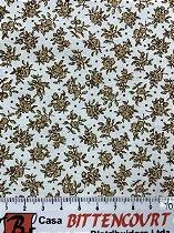 Tricoline florzinha marrom fundo branco ( 0,50 m x 1,40 m )