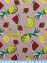 Tricoline MISTO Frutas fundo Rosa Pêssego ( 0,50 m x 1,50 m )