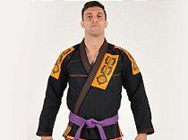 Kimono Jiu Jitsu Oss Masculino Preto e Laranja Clássico