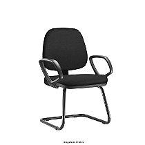"""Cadeira Fixa Estrutura em metal modelo """"S"""" assento e encosto estofado revestimento tecido preto modelo JOB"""