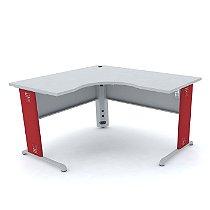 Mesa em L 145cm larg x 145cm larg x 65cm profundidade tampo único em madeira de 25mm de espessura pés em metal Estação de Trabalho linha Arena marca Pandin