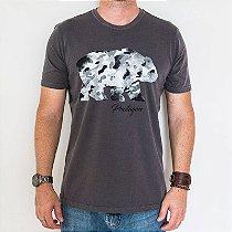 Camiseta Estonada Cinza Classic Urso Camuflado