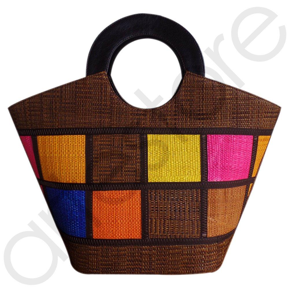 Bolsa de Praia em Palha Multicolor Alça de Mão